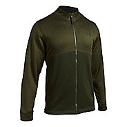 Mens Under Armour Fleece Icon Full-Zip Running Jackets - Artillery Green L