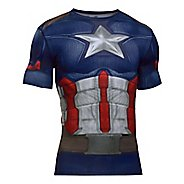 Mens Under Armour Captain America Suit Short Sleeve Technical Tops - Midnight Navy/White 3XL