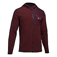 Mens Under Armour CGI Full-Zip Hood Half-Zips & Hoodies Technical Tops - Raisin Red L