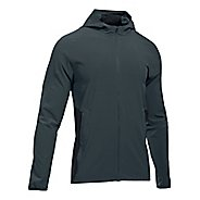 Mens Under Armour Outrun The Storm Running Jackets - Stealth Grey/Black M