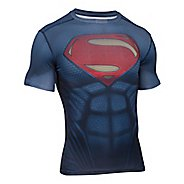 Mens Under Armour Superman Suit Short Sleeve Technical Tops - Midnight Navy XL