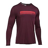 Mens Under Armour Run Graphic Long Sleeve Technical Tops - Raisin Red XL