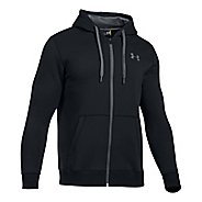 Mens Under Armour Rival Fitted Full-Zip Long Sleeve Technical Tops - Black XS