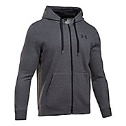 Mens Under Armour Rival Fitted Full-Zip Long Sleeve Technical Tops - Carbon Heather M