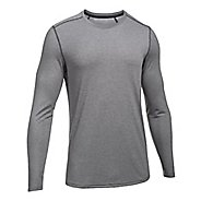 Mens Under Armour Threadborne Knit Long Sleeve Technical Tops - Carbon Heather XXL