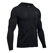 Mens Under Armour Threadborne Fitted Full-Zip Half-Zips & Hoodies Technical Tops - Black M