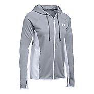 Womens Under Armour Fleece Full-Zip Crosshatch Running Jackets - True Grey S