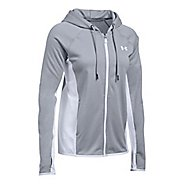 Womens Under Armour Fleece Full-Zip Crosshatch Running Jackets - True Grey XL
