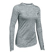 Womens Under Armour ColdGear Crew Long Sleeve Technical Tops - True Grey XL