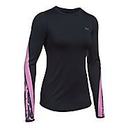 Womens Under Armour ColdGear Graphic Crew Long Sleeve Technical Tops - Black/Icelandic Rose XS