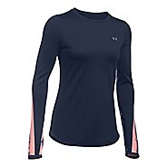 Womens Under Armour ColdGear Graphic Crew Long Sleeve Technical Tops - Midnight Navy/ Pink L