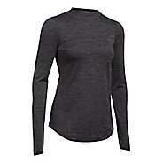 Womens Under Armour ColdGear Fitted Mock Long Sleeve Technical Tops - Carbon Heather L