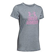 Womens Under Armour Tech Crew Neck-Mevo Short Sleeve Technical Tops - Steel M