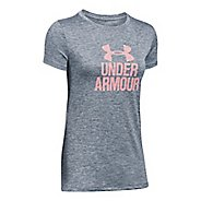 Womens Under Armour Tech Crew Neck-Mevo Short Sleeve Technical Tops - Rhino Grey M
