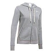 Womens Under Armour Favorite Fleece Full-Zip Half-Zips & Hoodies Technical Tops - True Grey S