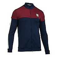 Mens Under Armour Sportstyle Track Casual Jackets - Academy/Cardinal L