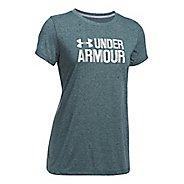Womens Under Armour Threadborne Crew Neck-Mevo Short Sleeve Technical Tops - Arden Green XXL