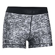 Womens Under Armour HeatGear Printed Shorty Compression & Fitted Shorts - Black/White/Black L