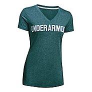 Womens Under Armour Threadborne V Graphic Twist Short Sleeve Technical Tops - Arden Green/White XS