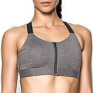 Womens Under Armour Eclipse High Zip Heather Sports Bras - Charcoal 32-A
