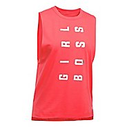 Womens Under Armour Muscle Tank GIRL BOSS Sleeveless & Tank Tops Technical Tops - Marathon Red M