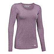 Womens Under Armour Threadborne Seamless Heather Long Sleeve Technical Tops - Raisin Red XL