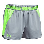 Womens Under Armour Play Up 2.0 Mesh Inset Unlined Shorts - Grey Heather/Lime XL