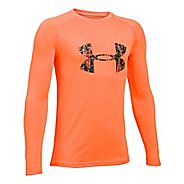 Under Armour Boys Big Logo Tee Long Sleeve Technical Tops - Orange/Anthracite YXS