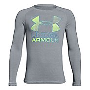 Under Armour Hybrid Big Logo Tee Long Sleeve Technical Tops - Steel/Lime YXL
