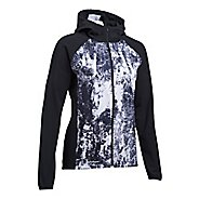 Womens Under Armour Outrun The Storm Printed Running Jackets - Black/White M