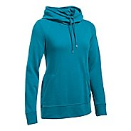 Womens Under Armour French Terry Open Back Half-Zips & Hoodies Technical Tops - Bayou Blue L