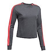 Womens Under Armour Favorite Mesh Graphic Long Sleeve Technical Tops - Carbon Heather/Red M