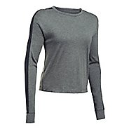 Womens Under Armour Favorite Mesh Graphic Long Sleeve Technical Tops - Carbon Heather/Black S