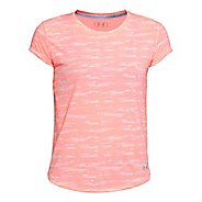 Womens Under Armour Threadborne Run Mesh Printed Short Sleeve Technical Tops - Cape Coral/Pink XL