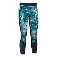 Womens Under Armour HeatGear Reversible Crop Tights - Bayou Blue/Navy XL