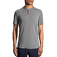 Mens Brooks Cadence Short Sleeve Technical Tops - Heather Oxford XL
