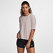 Womens Nike Dry Medalist Heathered Short Sleeve Short Sleeve Technical Tops - Particle Rose/White L