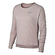 Womens Nike Dry Medalist Heathered Long Sleeve Long Sleeve Technical Tops - Particle Rose/White XS