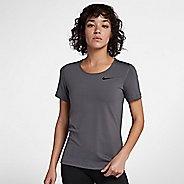 Womens Nike Pro All Over Mesh Short Sleeve Technical Tops - Dark Grey L