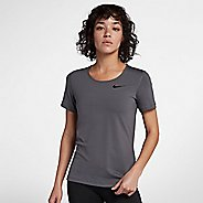 Womens Nike Pro All Over Mesh Short Sleeve Technical Tops - Dark Grey M