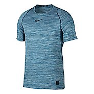 Mens Nike Pro Fitted Heathered Short Sleeve Technical Tops - Equator Blue XL