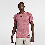Mens Nike Pro Fitted Heathered Short Sleeve Technical Tops - Gym Red XL