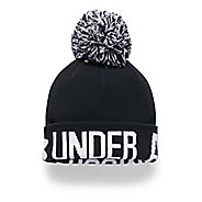 Womens Under Armour Graphic Pom Beanie Headwear - Black/White