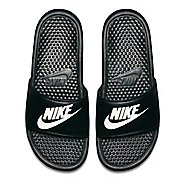 Mens Nike Benassi Sandals Shoe - Black/White 10