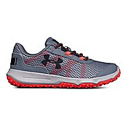 Womens Under Armour Toccoa Trail Running Shoe - Gravel/Neo Pulse 8.5