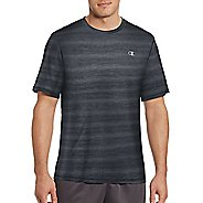Mens Champion Vapor Heather Stripe Tee Short Sleeve Technical Tops - Stealth Heather XL
