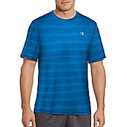 Mens Champion Vapor Heather Stripe Tee Short Sleeve Technical Tops - Running Waves/Heather M