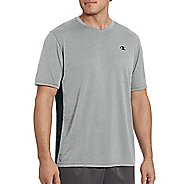 Mens Champion Vapor Heather V-Neck Short Sleeve Technical Tops - Oxford Grey/Black L