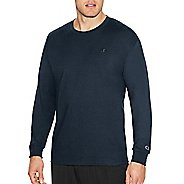 Mens Champion Classic Jersey Tee Long Sleeve Technical Tops - Navy L