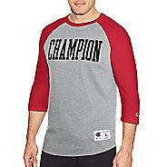 Mens Champion Heritage Baseball Slub Tee Long Sleeve Technical Tops